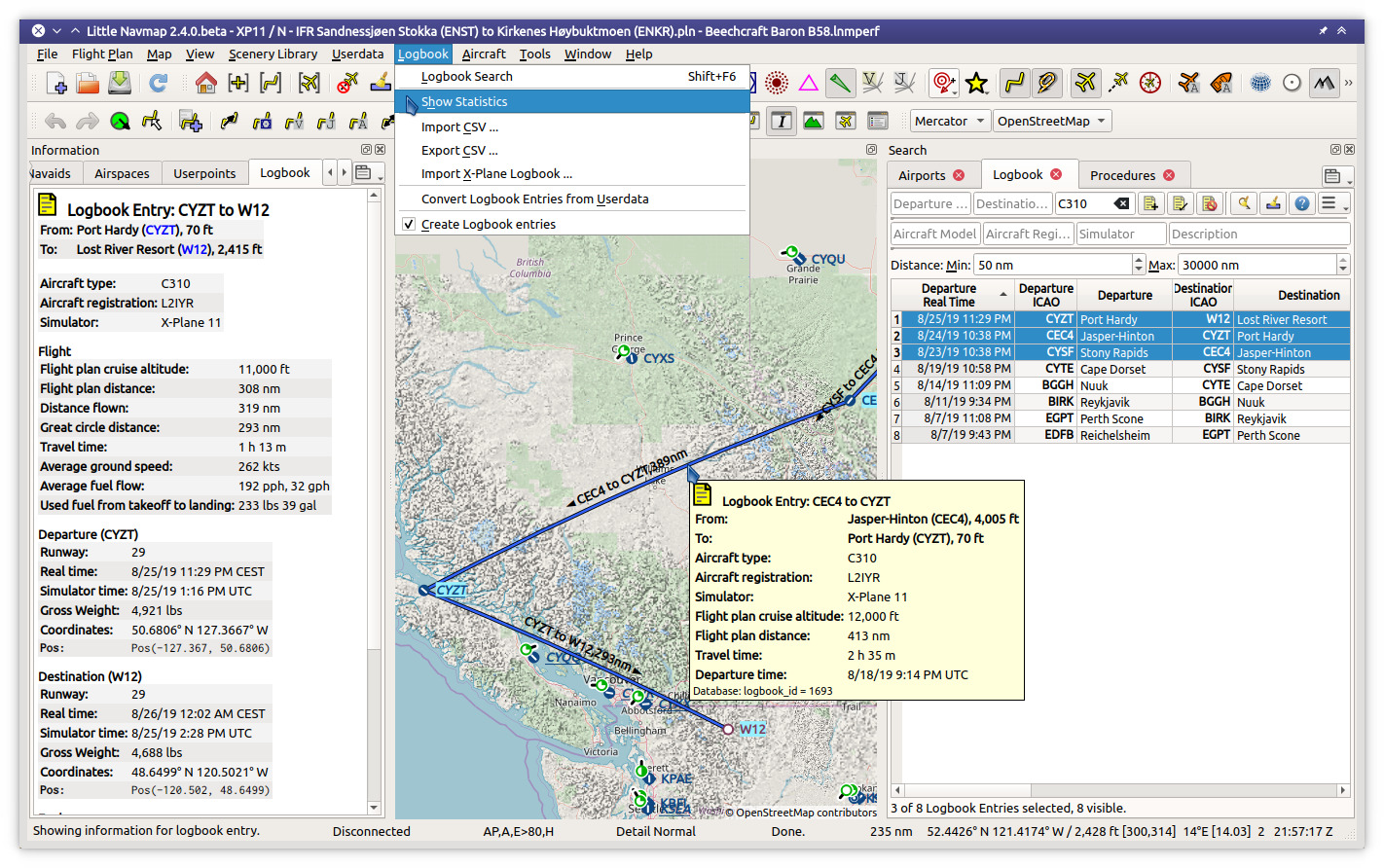 Logbook functionality with three entries selected in search which are highlighted on the map