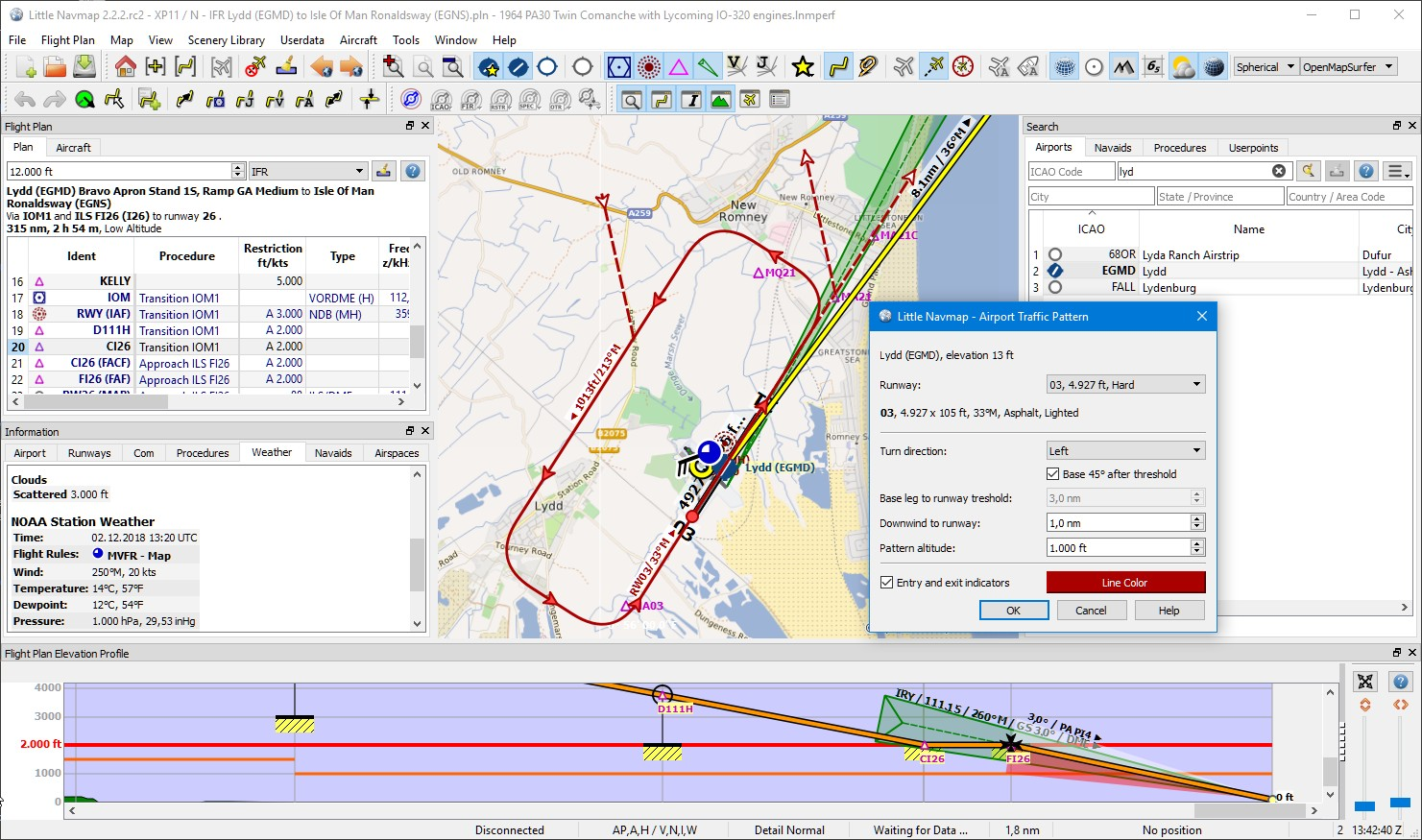 Little Navmap 2.2.2 airport traffic pattern and elevation profile with ILS and VASI